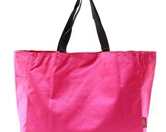 Monogrammed Totebag, Personalized Totebag, Hot Pink Tote, Bridesmaid Gift, Beach Bag, Large Totebag, Cheer Bag, Dance Bag