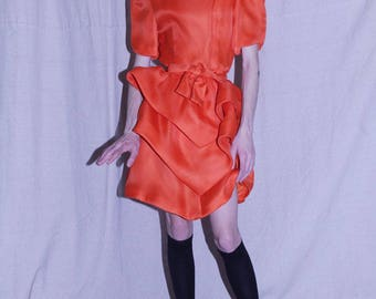80's Orange Ruffle Dress