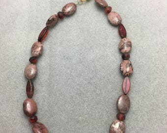 Mauve Snakeskin Jasper and Glass Necklace