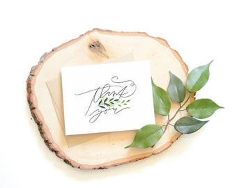 Greenery Thank You card . Hand lettered card . modern calligraphy . watercolor . leaves . stationery . hand painted .