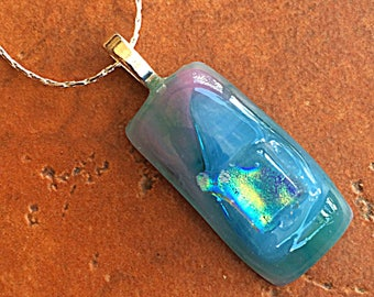 Rectangle Dichroic Pendant Colorful Wearable Art Artisan Jewelry Handmade Art Glass Multicolored Artsy Necklace