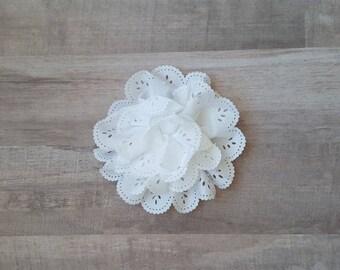 "4"" White Eyelet Flower, large flower puff, White fabric flower, Eyelet flower, DIY supplies, Headband flower, Flower Hair Clip, White flower"