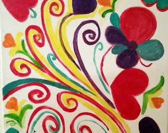 """Hearts and Swirls Delight Abstract Painting Acrylics Original Handmade 12x12"""" Canvas Board"""