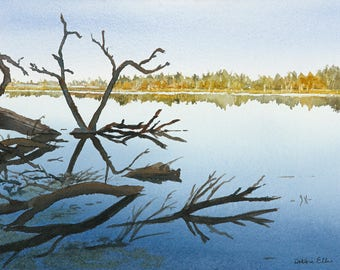 reflections - water - hespeler - watercolour - speed river - cambridge - Hespeler mill pond - blue - river - giclee print - Cambridge