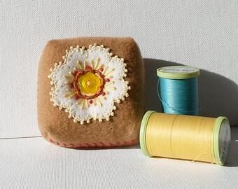 Handmade Pincushion Felted Wool White & Tan Floral Mini Cushion