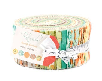 """Moda REFRESH Jelly Roll 17860JR 40 2.5"""" Fabric Strips By Sandy Gervais"""