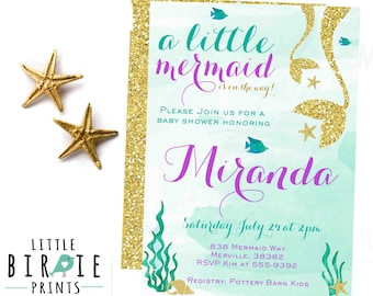 Mermaid baby shower invitation - Gold Mermaid Baby Shower Invitation Girl Baby Shower Invitation  Lavender Purple Mint