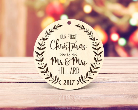 Christmas decorations personalized gift Wood Ornament Our First Christmas Personalized Mr Mrs Last Name Custom Ornament Engraved ornament 2