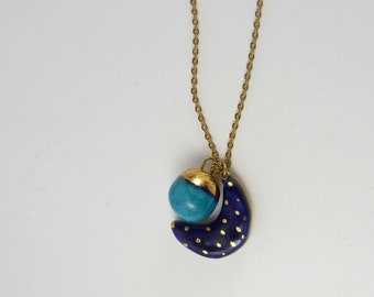 Ceramic necklace - day and night, multicolour with gold.