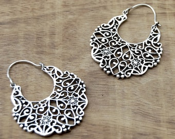 Gypsy Earrings, Boho Earrings, Silver Hoop Earrings, Tribal Earrings, Silver Earrings, Filigree Earrings, Ethnic Earrings, Indian Earrings