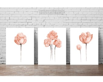 Peony Peach Set Of 3 Watercolor Flower Painting Peonies Bouquet Minimalist Abstract Shabby Chic