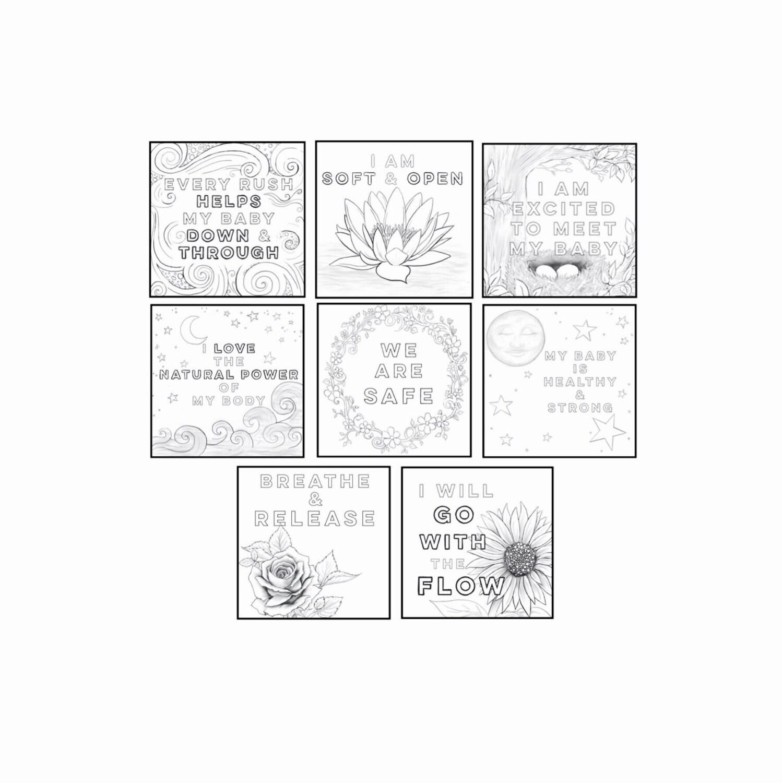 labor  u0026 birth affirmation 7x7 coloring prints
