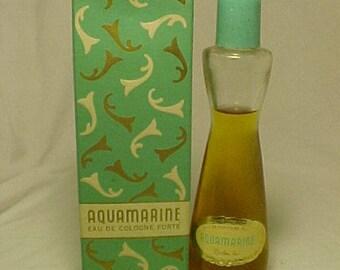 c1950s Aquamarine eau de cologne forte Revlon Inc. New York, N.Y. , Full Vintage Cologne Perfume Bottle with box
