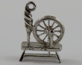 Spinning Wheel Sterling Silver Vintage Charm For Bracelet