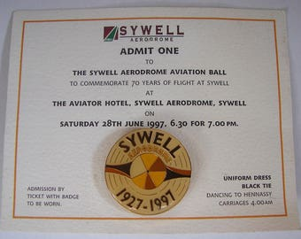 SYWELL AERODROME BADGE Ticket admission Commonwealth and Allied pilots 70th anniversary private event