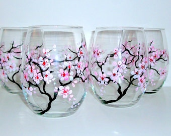 Cherry Blossoms Spring Wedding Hand Painted Stemless Wine Glasses Set of 4 - 20 oz. Bridesmaids Gift Bridal Shower Bachelorette Party