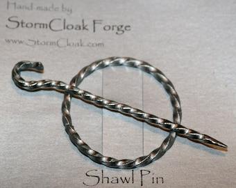 Twisted Steel Shawl Pin