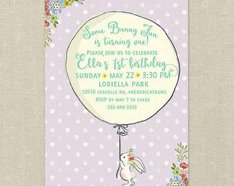 Printable Birthday Invitations---Some Bunny Fun, Balloon, Flowers, Polka Dots