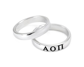 Alpha Omicron Pi Sterling Silver Skinny Band Ring with black enamel Greek letters // ΑΟΠ Sorority jewelry // Sorority gifts // Greek // aoii