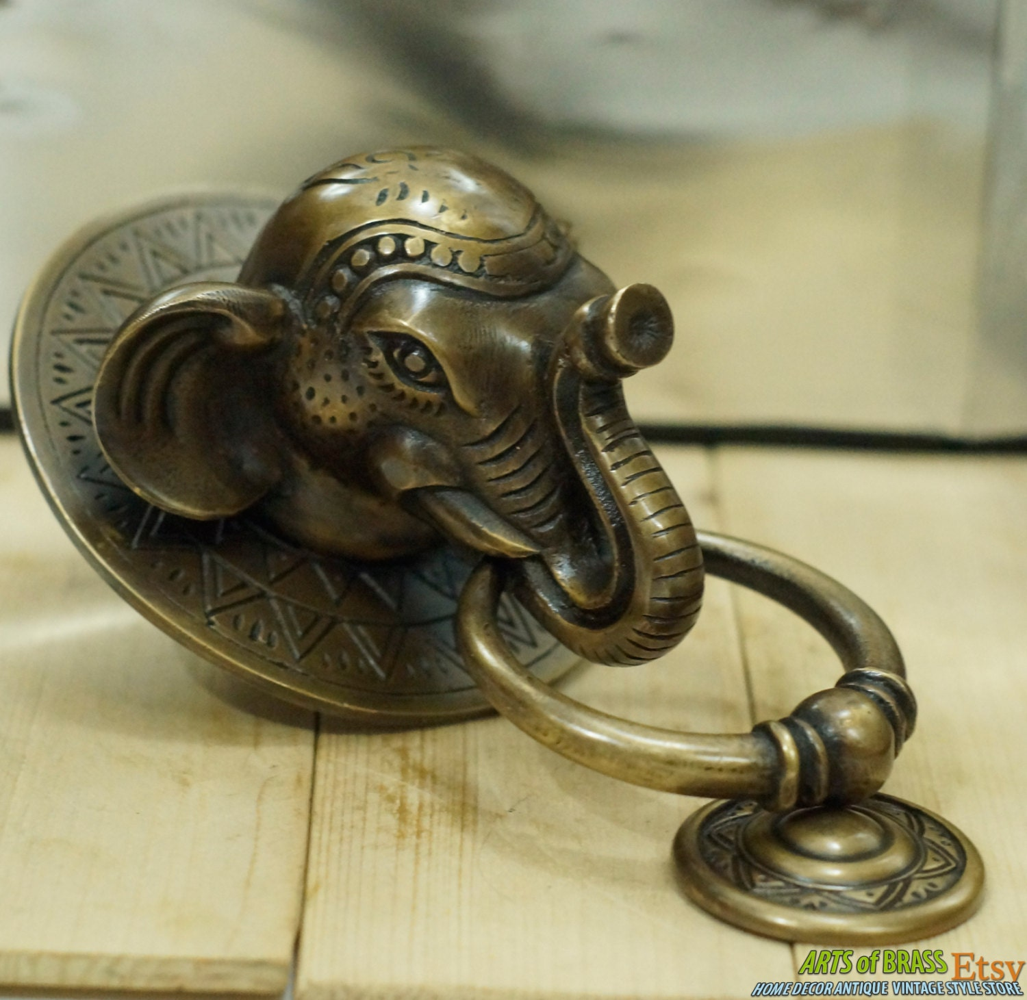 Antique Large Big Elephant Thai Head Door Knocker Cast Solid
