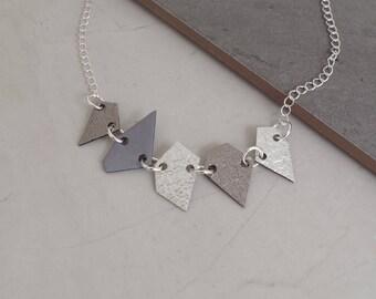 Asymmetric Leather Necklace  - Geometric Necklace - Minimalist Necklace - Chain Necklace - Rose Gold Necklace - Minimalist Jewellery