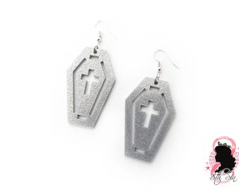Silver Glitter Acrylic Coffin and Cross Earrings, Silver Acrylic Cross Earrings, Silver Acrylic Coffin Earrings, Silver Coffin Earrings