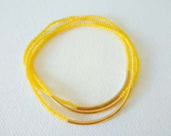 Gift set Dainty bracelets,gold bar bracelet,yellow bracelet stretch bracelets,elastic bracelet,seed bead bracelet,summer,bracelet femme