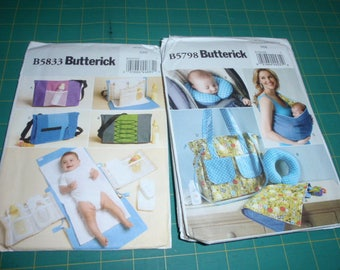 Butterick 5833 or 5798 Baby's Changing Pad, Diaper Bag, Neck Support, Carrier   New Uncut