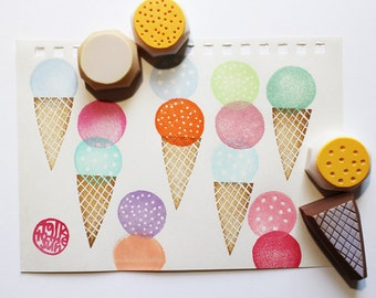 ice cream rubber stamp set | ice cream cone stamp | diy summer birthday baby shower card making | hand carved by talktothesun | set of 4