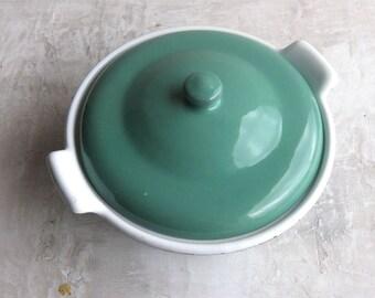 Vintage French enamel casserole dish