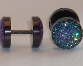 Mermaid Purple Glitter Fake Plugs