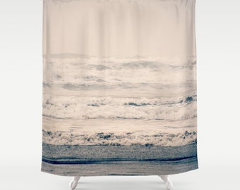 Shower Curtain (fabric) - A Gray Day, beach, ocean, waves,  Photography, Nature, RDelean