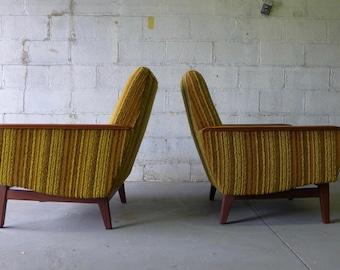 Pair - Mid Century Modern Tweed + TEAK LOUNGE CHAIRS