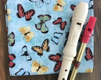 NEW Fabric- Recorder Bag, Tin Whistle Cover, Case, Irish Penny Whistle, Custom, Sleeve, Pouch, Fife, Woodwind, OJoyous, Blue Butterflies