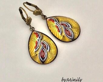 Earrings dangle drops - fancy cabochon / African fabric - wax - yellow