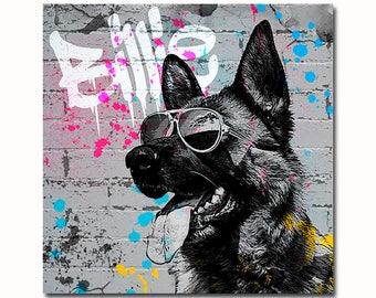 Custom graffiti Pet Portrait - Custom dog graffiti - Splatter Art portrait - Graffiti Art portrait - street style dog - grunge pet portrait