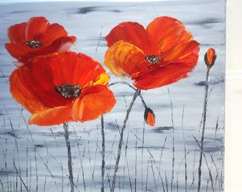 "Semifigurative painting ""poppies"" painted with oil knife painting poppies - Valentine's gift"