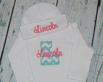Personalized Infant Gown Coming Home outfit  Monogrammed Layette