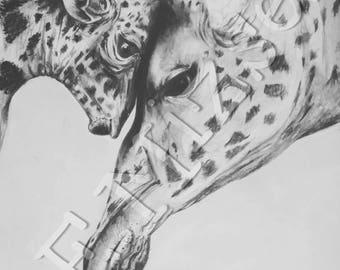 Hand drawn mummy and baby giraffe