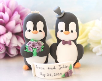 Custom wedding cake toppers Penguins- LARGERsize - names cute funny bride groom figurines anniversary gift lavender purple decoration animal