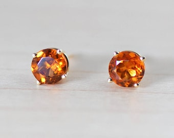 Spessartite Mandarin Orange Garnet 5mm 14k Yellow Gold Stud Earrings