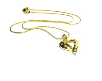 Gold Heart Pendant , Vermiel  Pendant , 18K Gold Over  .925  Sterling Silver , Heart Pendant Necklace  , Gift For Her