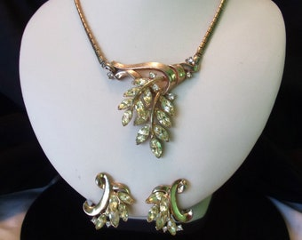 Crown Trifari Alfred Philippe 1951 Spring Fantasy Pat Pend Rhinestone Necklace & Earrings Set