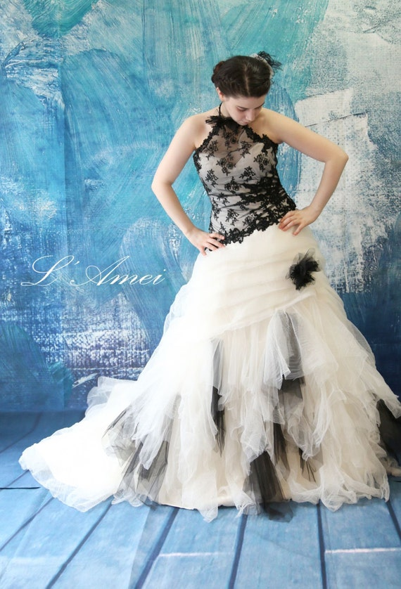 Black Gothic Style Tulle Wedding Bridal Dress Ball Gown with