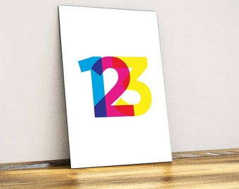 One Two Three Typographic Metal Wall Art - Wall Decor - Home Decor