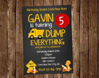 Construction Dump Truck Birthday Invitation
