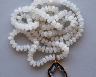 Moonstone and Geode Slice Necklace