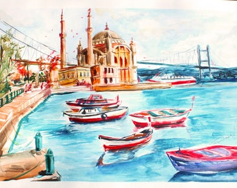 ISTANBUL IS LOVE- Watercolor painting handmade art decor