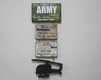 "Army Sign ""Home is Where the ARMY sends us"" duty stations"