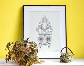 Art print SQUIDOOHOO Upsidedown Spirograph Faces black and white illustration  wall art | squid octopus owl animal face